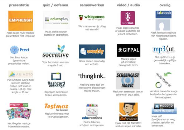 Selectie van de tools waaruit leerlingen hun keus konden maken.