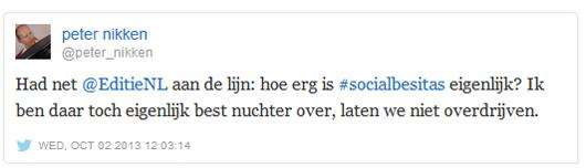 Tweet Peter Nikken over socialbesitas
