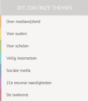 Mediawijsheid.nl bevat 7 thema's