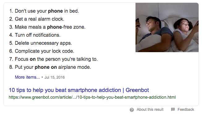 Google zoekresultaten tips tegen smartphone verslaving