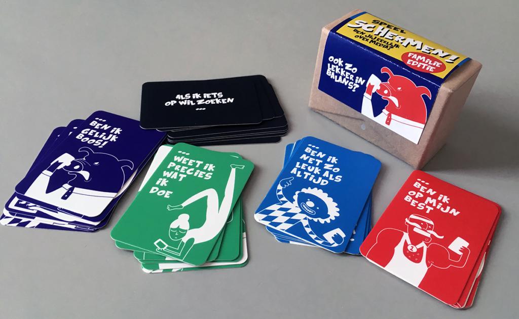 Schermen, spel over media voor de familie: kaartjes, doosje
