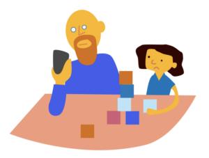 Vader met smartphone naast kind, Sociale scherm-norm